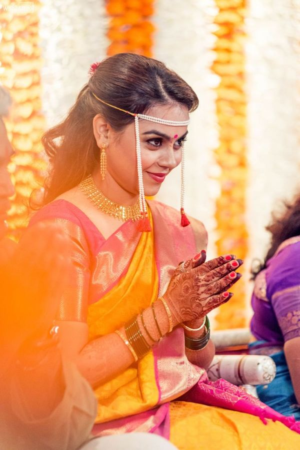 Maitreyis yellow saree looks like a hit Indian Bridal