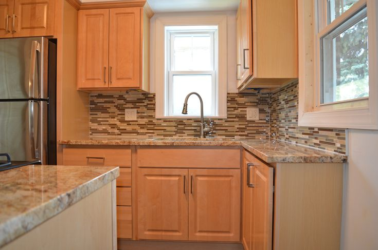 Kitchen remodel with natural maple cabinets, granite ... on Natural Maple Maple Cabinets With Quartz Countertops  id=53645