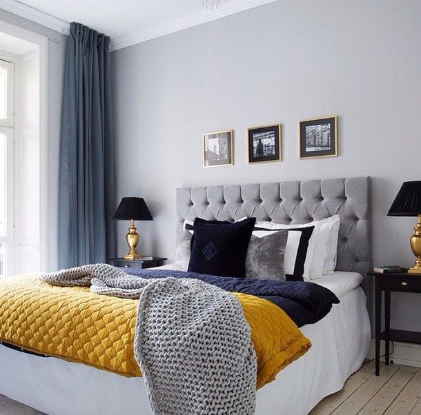 Grey And Blue Decor With Yello Pop Of Color Bedroom Inspiration