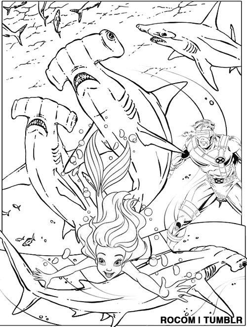 Cyclops Saves Ariel From Killer Hammerhead Sharks