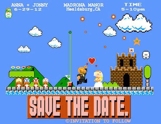 Super Mario Bros. | 24 Adorably Geeky Wedding Invitations: