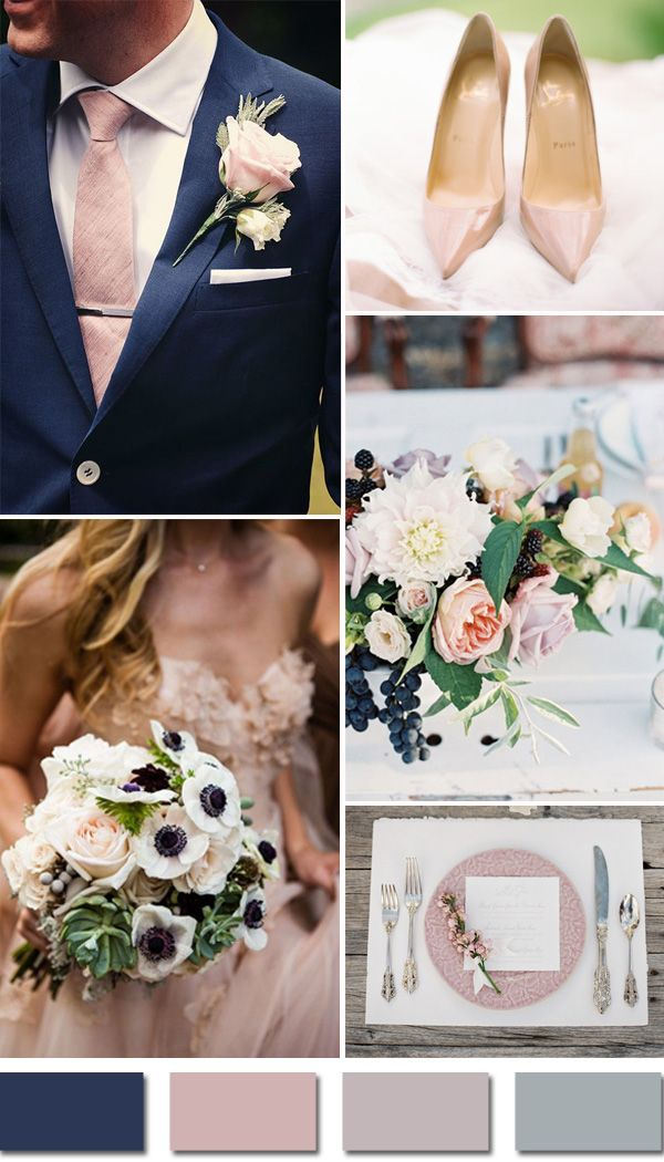 navy and blush elegant fall wedding colors for 2015 trends: