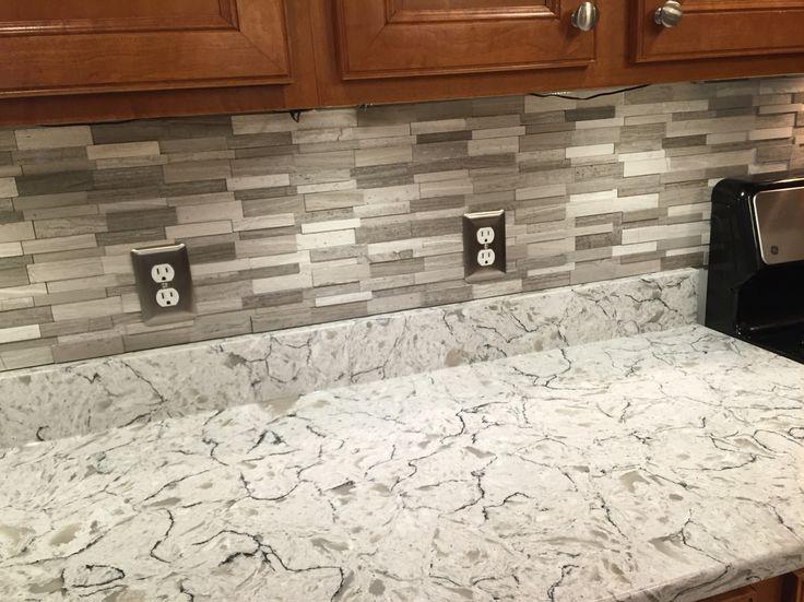 Gray Subway Mosaic Wall Tiles On Spring Valley Quartz Countertops Kitchen Pinterest