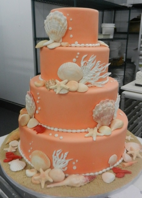 Great Idea For A Cake With A Beach Wedding Theme From