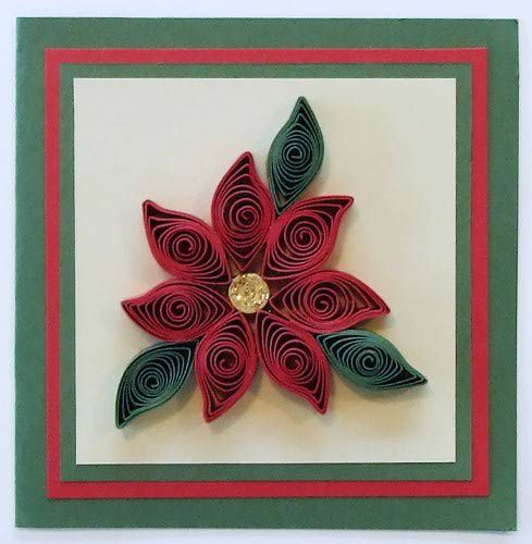 Rolled Paper Poinsettia For Scrapbooks And Cards