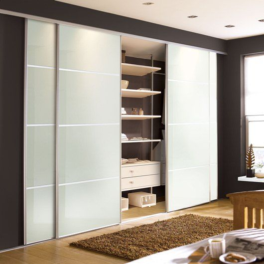Contemporary White Glass Sliding Wardrobe Doors Available From Our In South Wales For Home