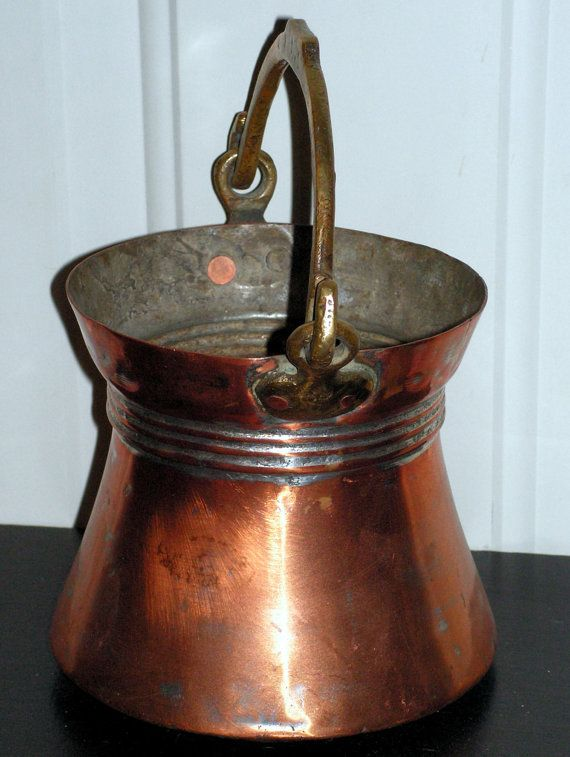 Vintage Copper Bucket With Hand Forged Handle Vintage