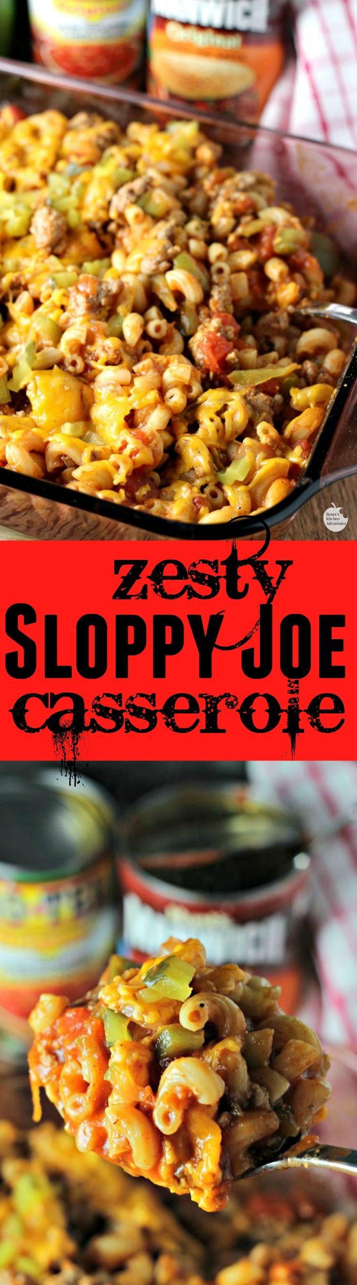 Zesty Sloppy Joe Casserole | by Renee's Kitchen Adventures – Easy recipe for a spicy Sloppy Joe casserole perfect for weeknight