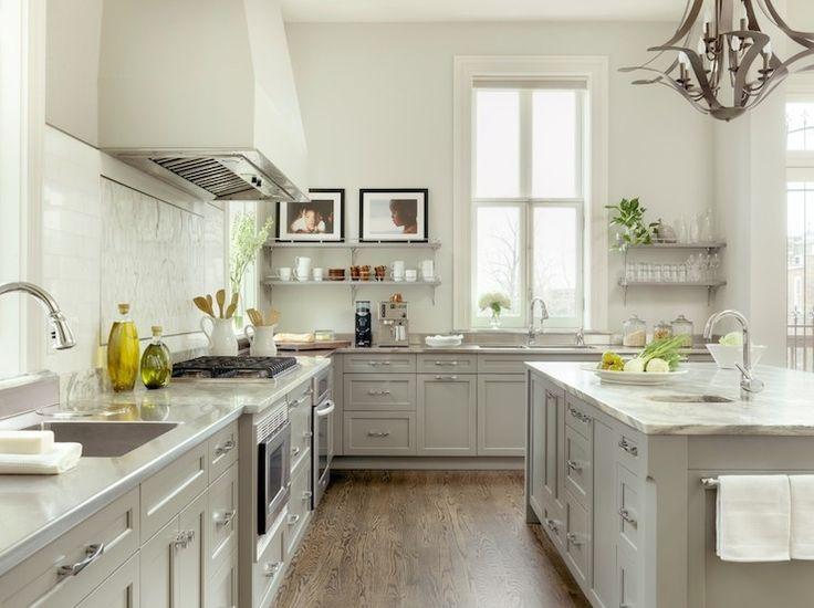 two tone white gray kitchen floating shelves gray stone perimeter counters porters on kitchen ideas gray id=26620