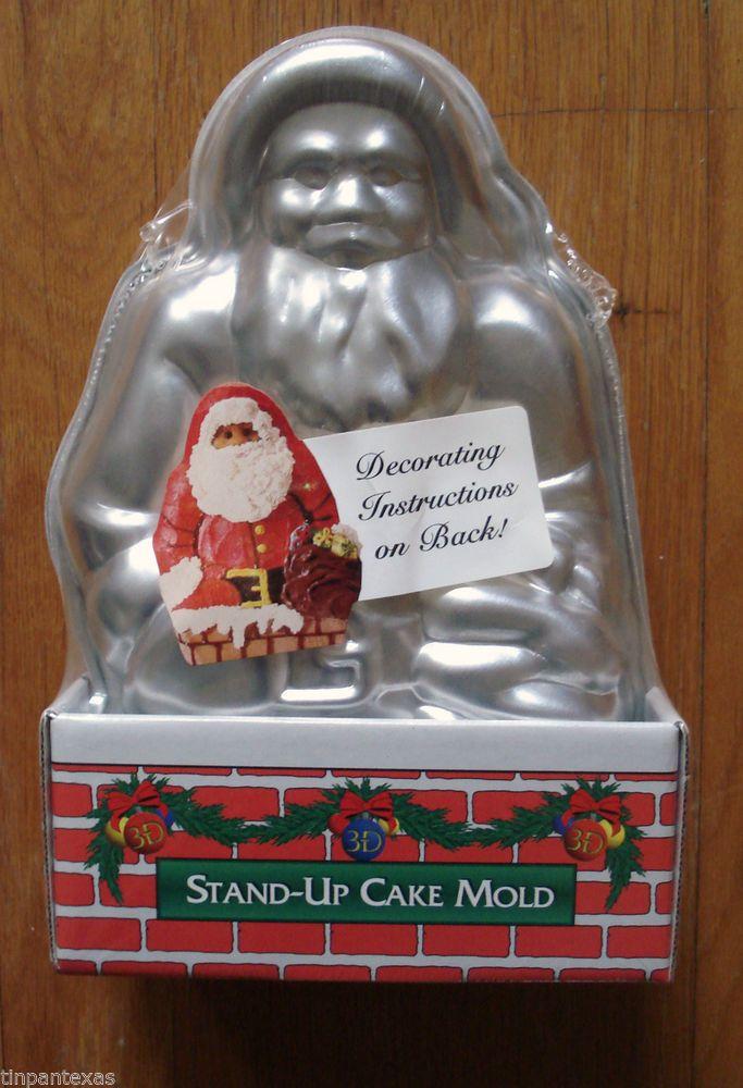 Vintage 2 Piece Aluminum Santa Claus Cake Pan Mold Nordic