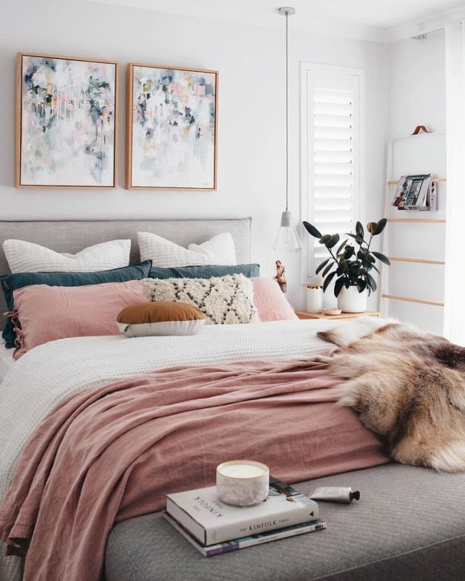 A Chic Modern Bedroom With White Gray And Blush Pink Color Scheme