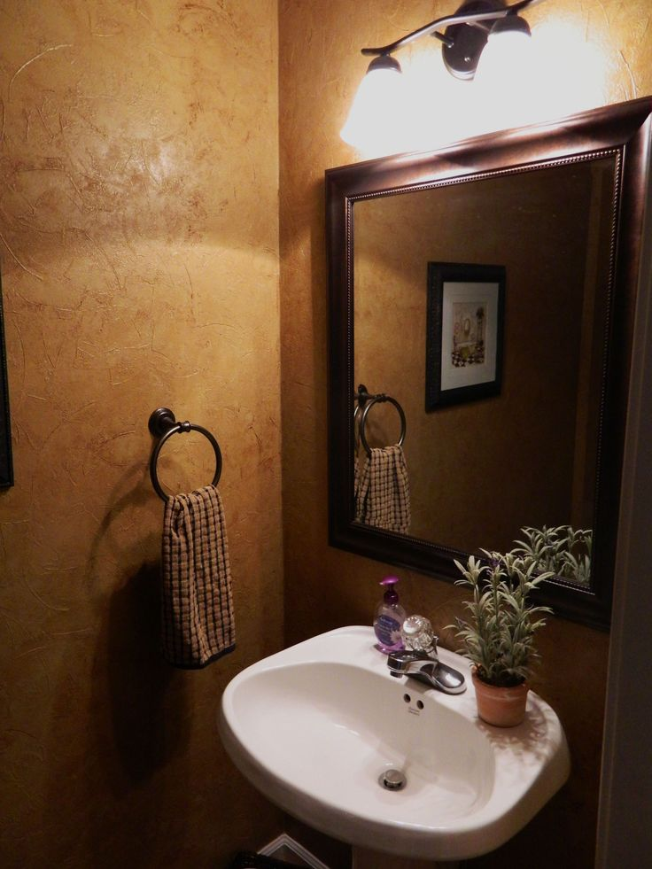 Guest Bathroom Shows Grecian Plaster Walls Which Is