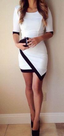 Glamorous Half Sleeve Round Neck Mini Dress White: