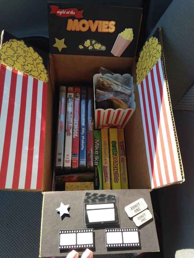 The Movie Night Care Package | 16 Care Packages That Any College Kid Would Love