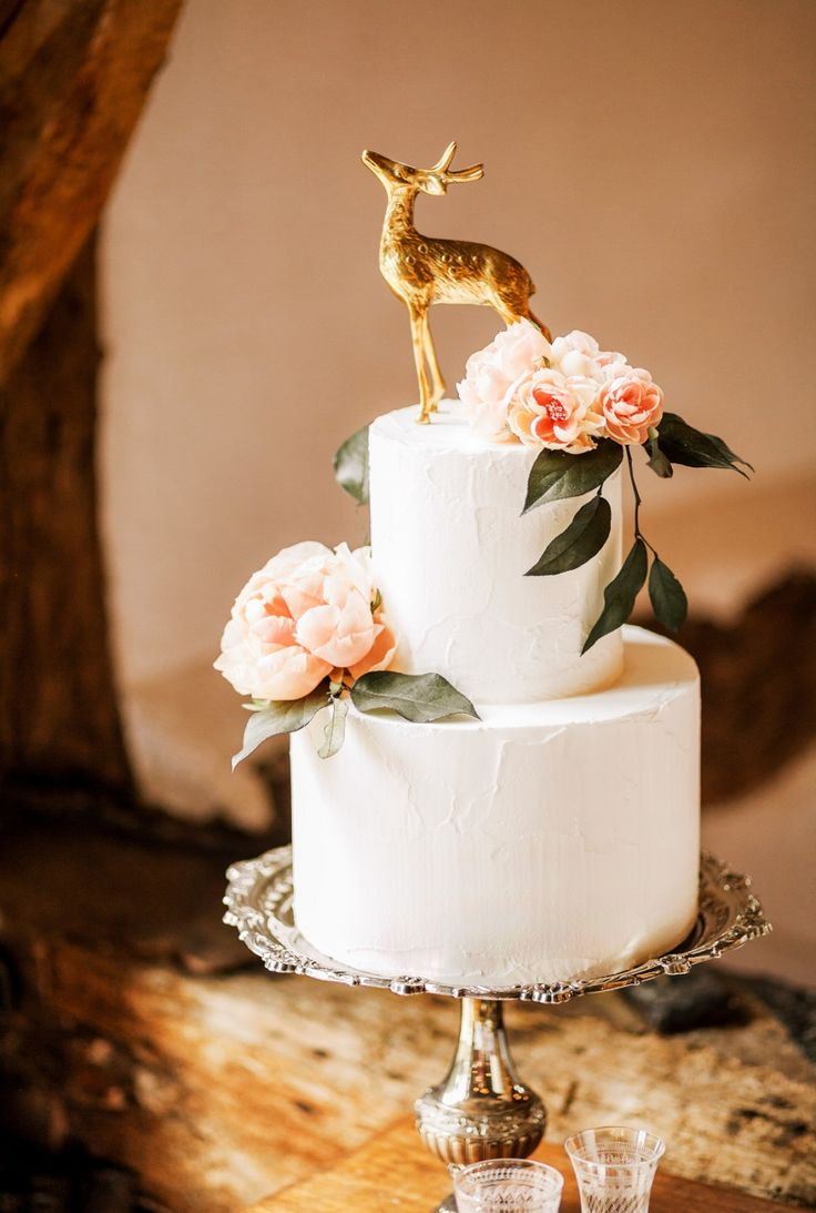 Elegant 2 Tier Wedding Cake With A Gold Dear Caketopper