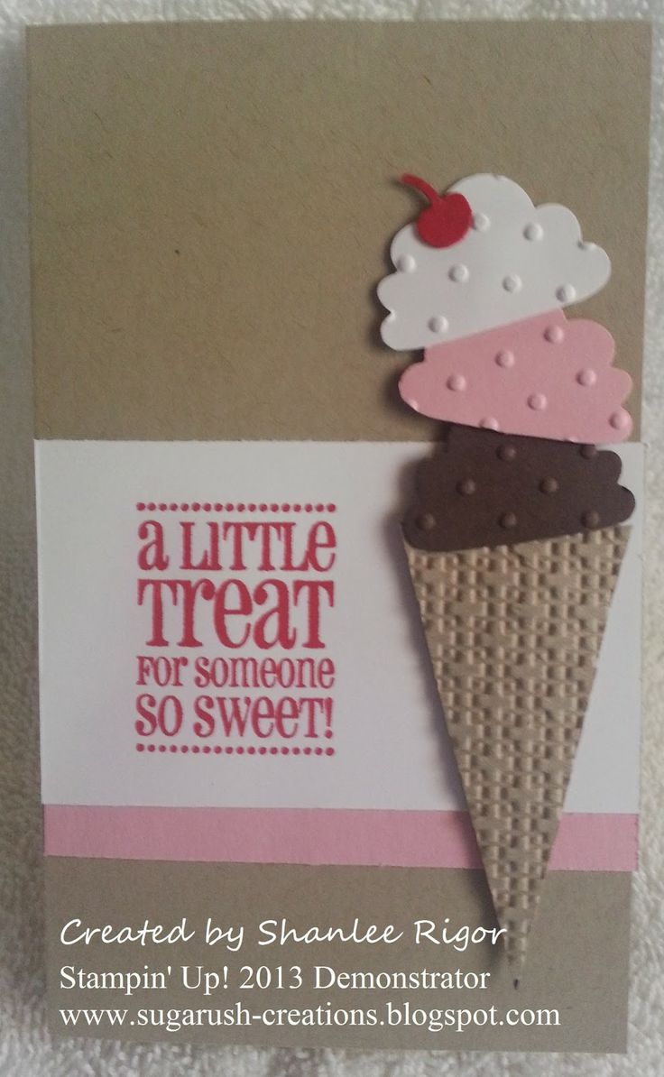 Ice cream gift card used stampin up products cupcake