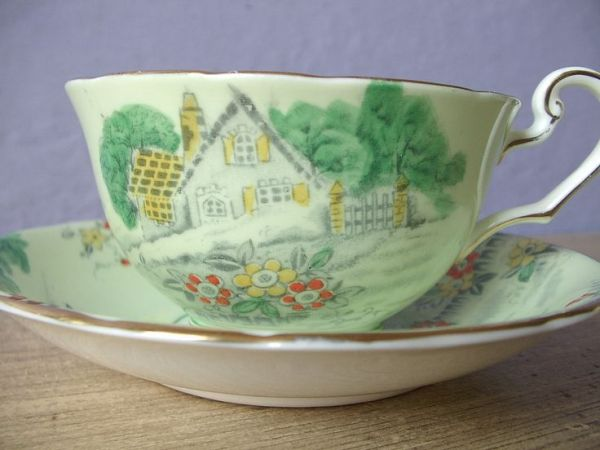 Antique hand painted English tea cup and saucer set ...