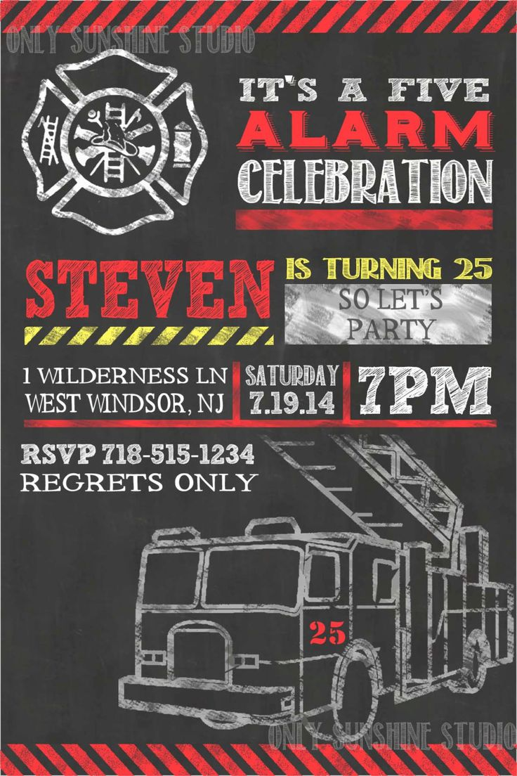 Fireman Printable Invitation 25th 30th 50th 60th