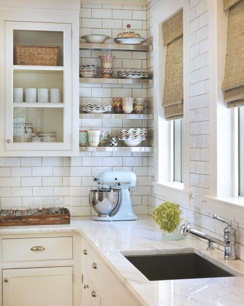 Modern vintage retro french country white kitchen with kitchenaid mixer & kitchenware marble benchtops
