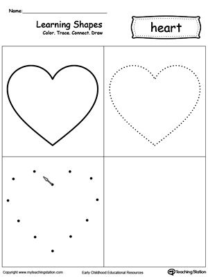 Learning Shapes Color Trace Connect And Draw A Heart