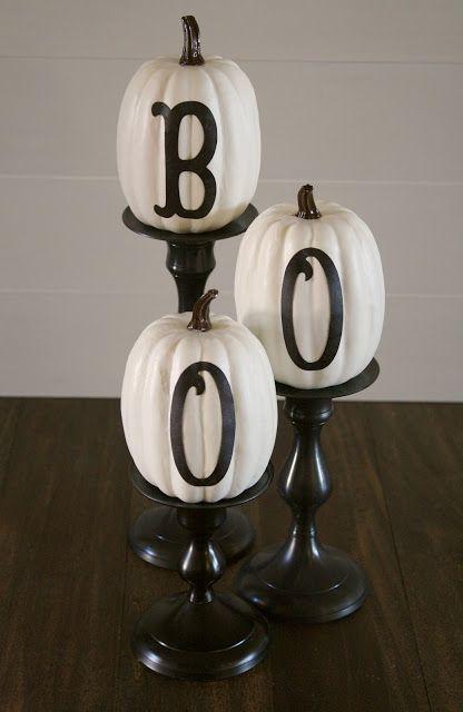 BOO Pumpkins. Would be cute set up on a Halloween buffet.