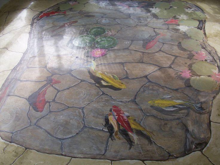 Floor Mural Trompe Loeil Koi Fish Pond By Louise