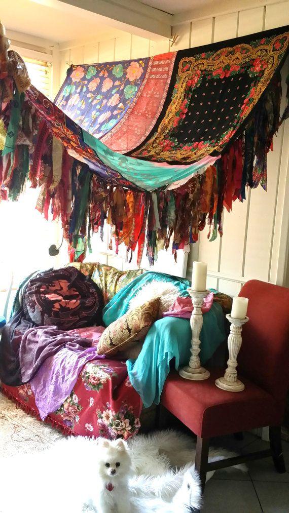 Boho Bedroom Patio Canopy Bohemian Hippy Vtg Bed Scarves