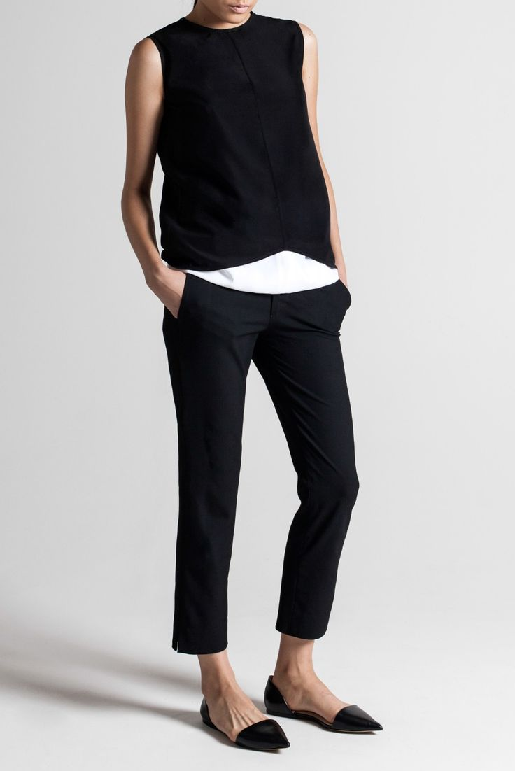 Sleeveless Top- great look, classic, very Audrey Hepburn. I could have those pants in every color.