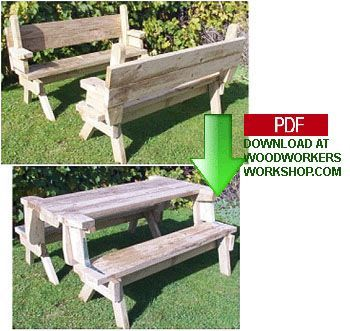 Convertible Park Bench Picnic Table Plans Woodworking