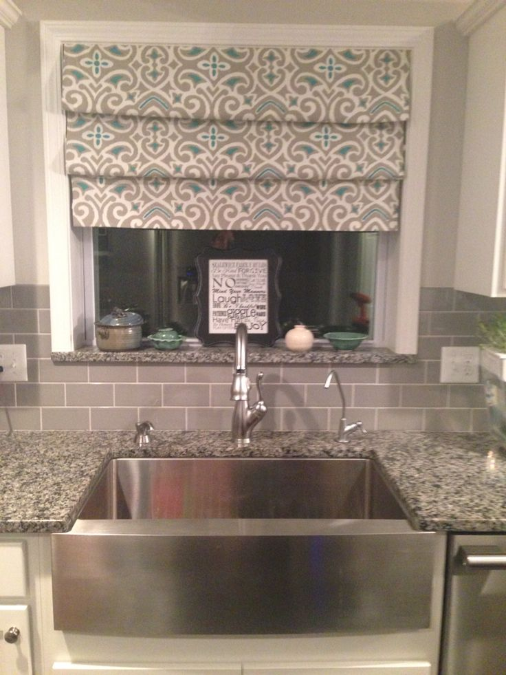 No Sew Drapes Over Sink Tension Rods Fake Roman Shades Dream Home Pinterest Tile No Sew