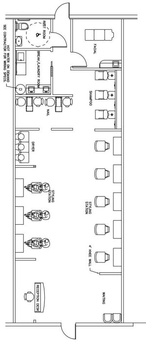 Beauty Salon Floor Plan Design Layout  1400 Square Foot