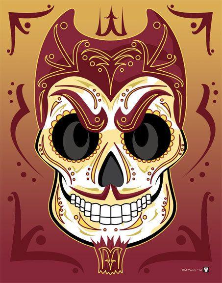 Arizona State University Sun Devil Sugar Skull Print 11x14 ...