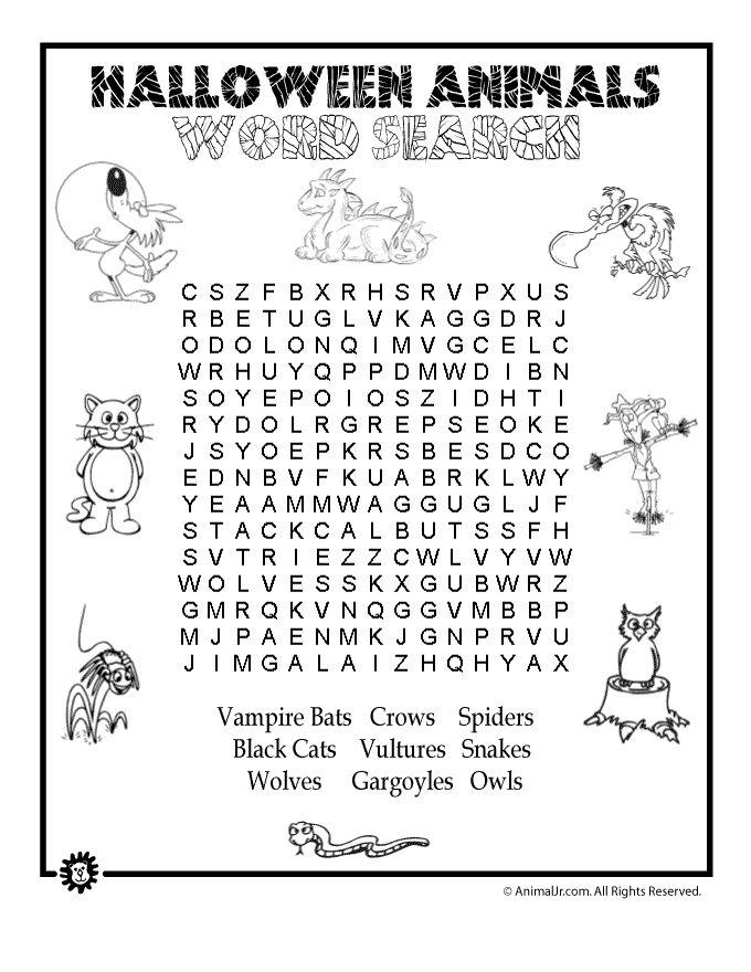 Animals Spanish Word Puzzles Print