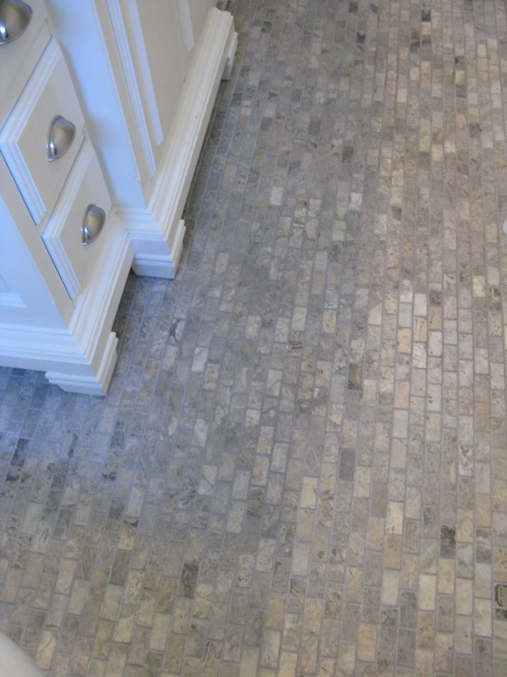 The Cottage Bathroom Floor Is 1x2 Silver Travertine From