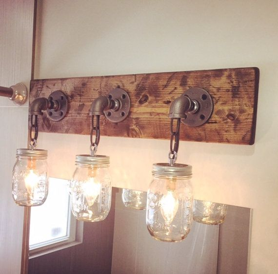 Rustic/ Industrial Wood Handmade 3 Mason Jars Light by Lulight