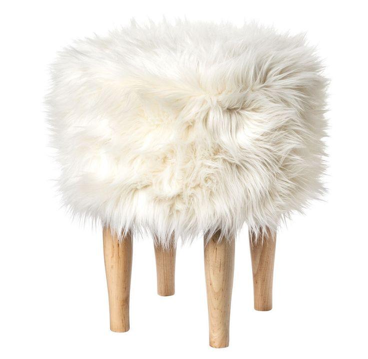Nate Berkus For Target New White Faux Fur Stool Footstool