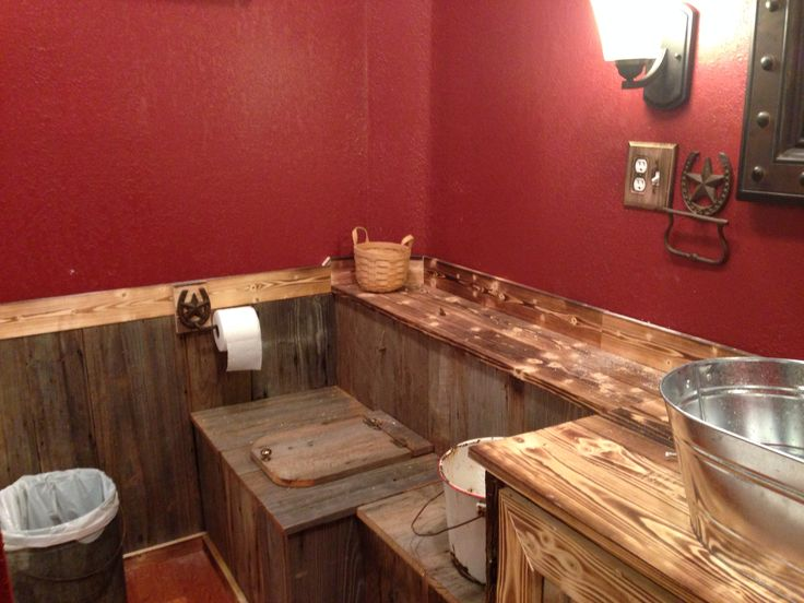 our rustic bathroom the paint is cabin red valspar from on rustic cabin paint colors id=99512