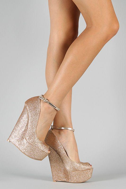 $28 Qupid Arrival-13 Glitter Peep Toe Platform Wedge. $28!!!!!!!! Where do I get these??