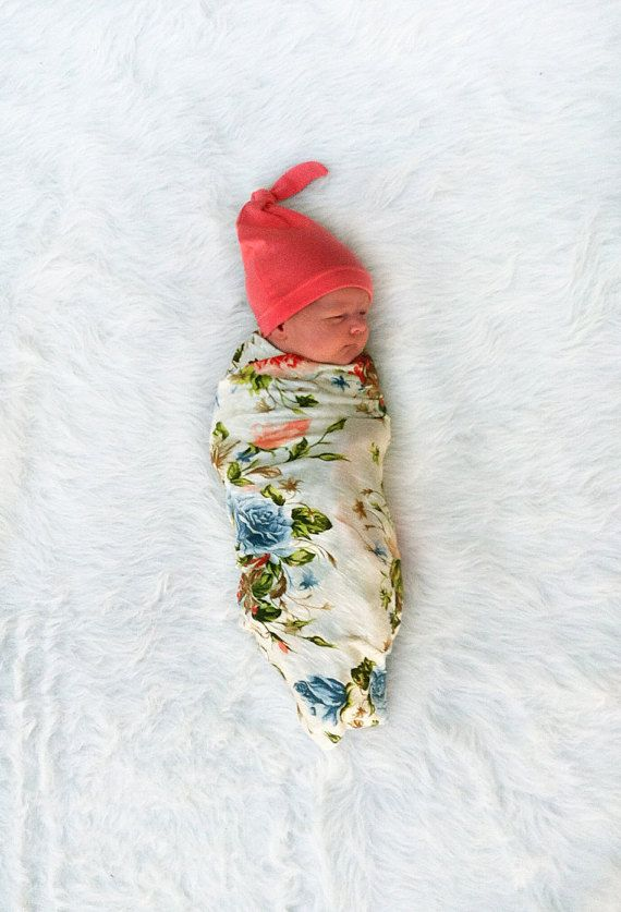 Floral Swaddling Blanket and Matching Knot Hat by brambleandbough