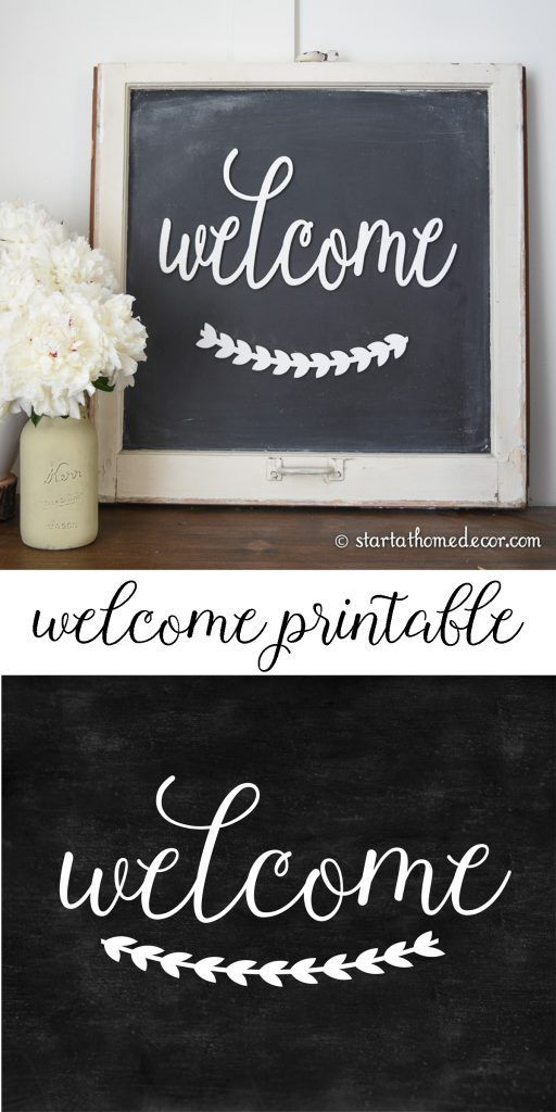 free welcome chalkboard printable from start at home decor hometalk funky junk present on farmhouse kitchen quotes free printable id=11902