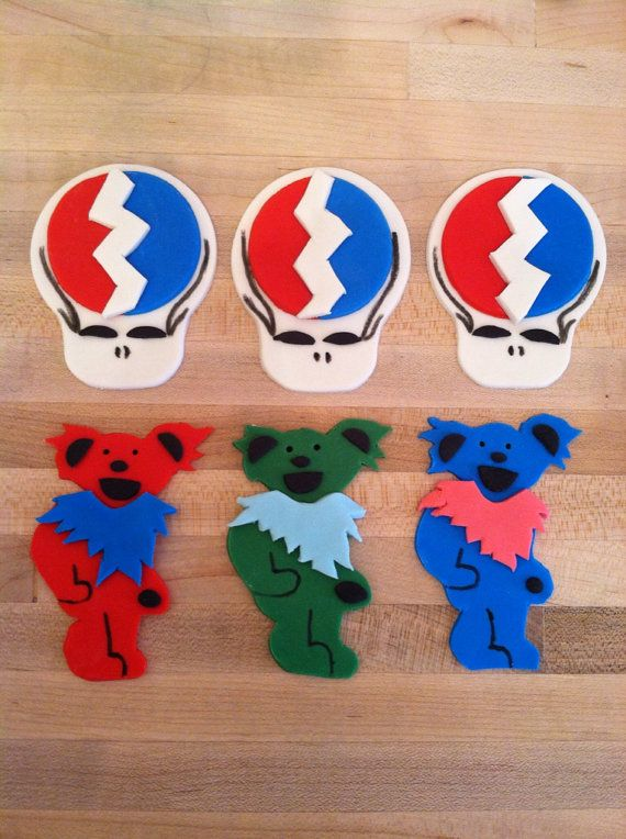 Grateful Dead Cake Or Cupcake Decorations By