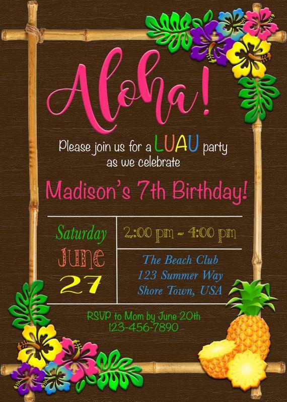 Luau Invitation Luau Birthday Invitation Hawaiian