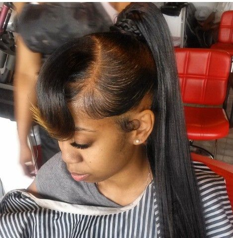 quick weave long ponytail hairstyles pinterest i want bangs and separate