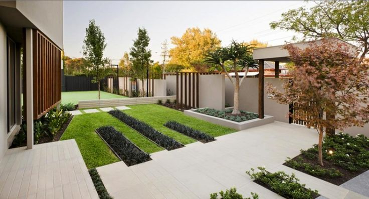 contemporary garden in front yard with concrete steps as on modern front yard landscaping ideas id=85593