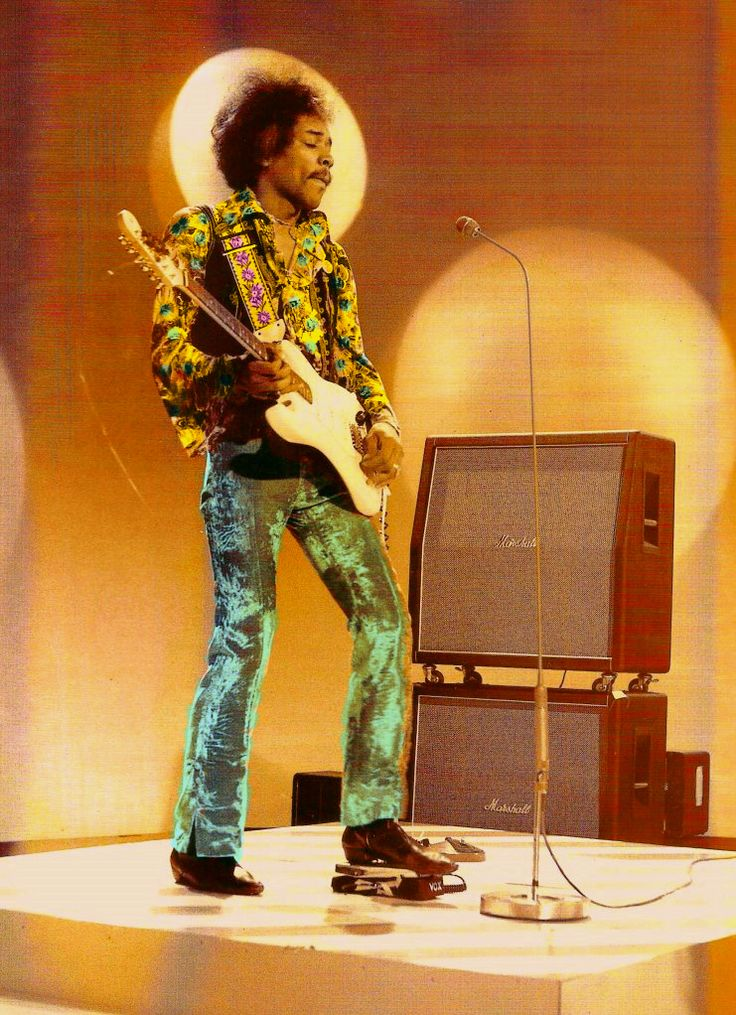 Jimi Hendrix In Playing A Vox Wah Wah Pedal