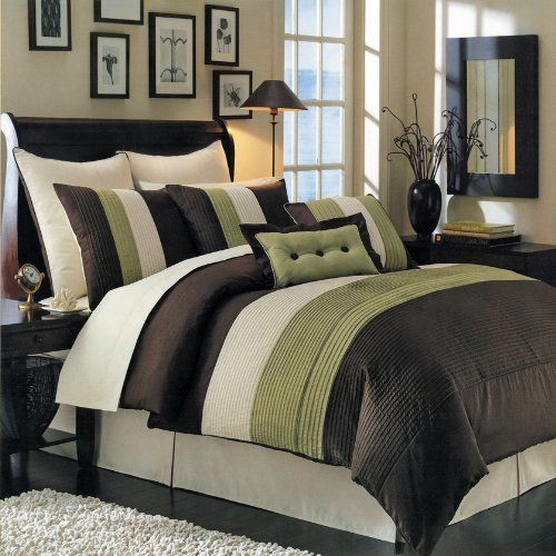 Hudson Sage Olympic Queen Size Luxury 8 Piece Comforter Set Includes Comforter Bed Skirt
