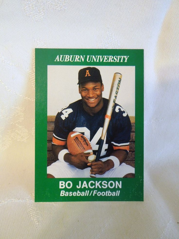 1986 bo jackson auburn university baseball football card
