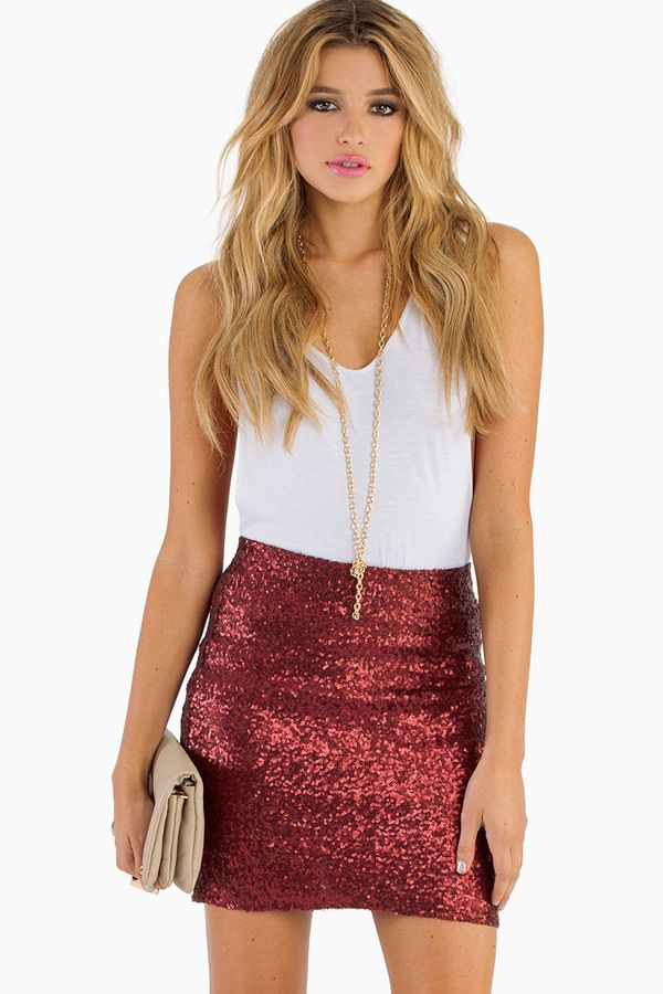 Red Sequin Skirt Fashion Skirts
