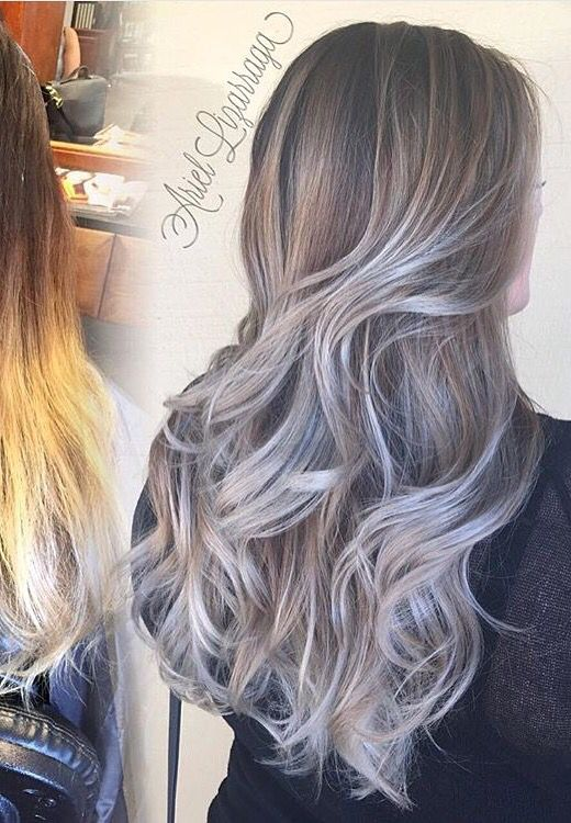 Silver Ombr Hair With Long Layers Perfect Fall The Fall