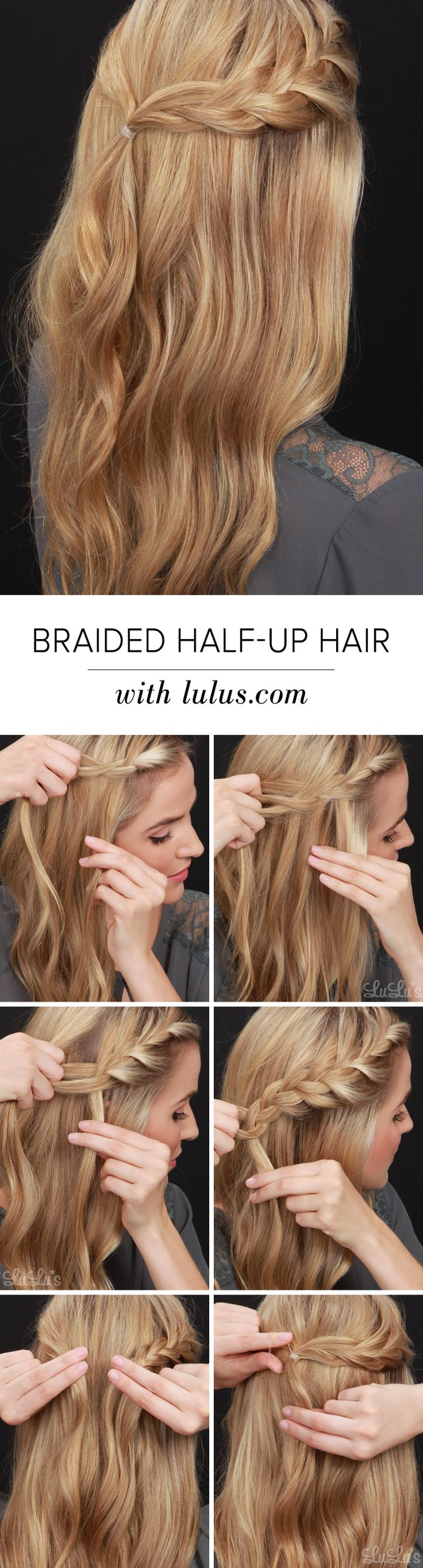 Great for a day at the office, date night, and every other occasion imaginable, our Half-Up Braided Hair Tutorial is so easy to